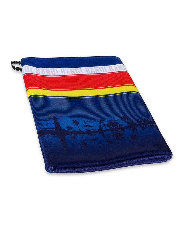 Hyper absorbent microfiber BANG! Beach Towel in blue background with stripes in yellow, red and white.
