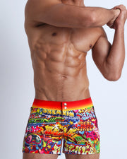 These men's swim beach shorts features fun and enegetic comics-style graphics in bold colors, with a BANG! illustration.