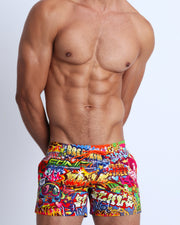 These men's swim show shorts features fun and enegetic comics-style graphics in bold colors, with a BANG! illustration.