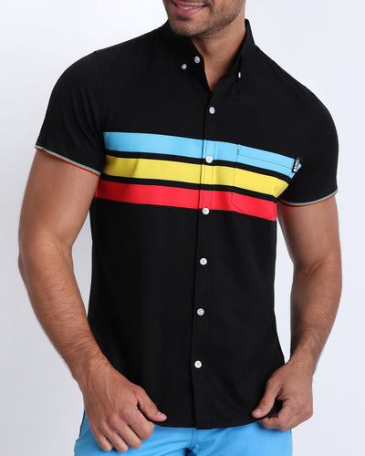 Frontal view of model wearing the BIONIC Stripes men's stretch shirt by the Bang! brand of men's beachwear from Miami.