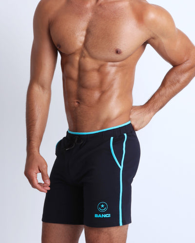 Frontal view of BANG!'s men's black calisthenical Shorts in the style of classic men's running shorts for workout, fitness or bodybuilding.