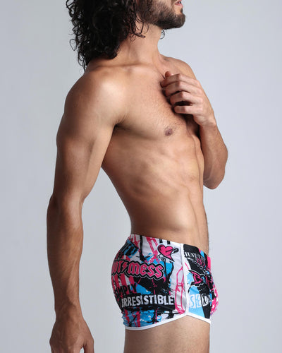 Born 2 Rock Swim Shorts Bang Clothes Men Swimwear Swimsuits lateral right view