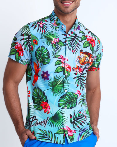 This men's stretch shirt features fun and enegetic jungle graphics in bold colors, with a tiger illustration.