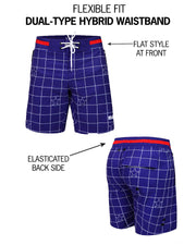 Diagram explaining mens flex boardshorts by BANG! Clothes brand in Miami gay swimwear