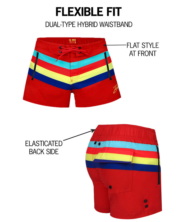 Diagram explaining mens flex shorts by BANG! Clothes brand in Miami gay swimwear