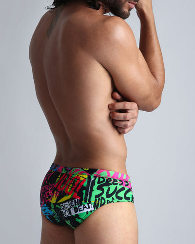 God Save The Beach SwimBrief Bang Clothes Men Swimwear Swimsuits back view right side