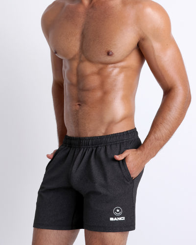 Frontal view of BANG!'s men's black Jogger Shorts in the style of classic men's running shorts for workout, fitness or bodybuilding.