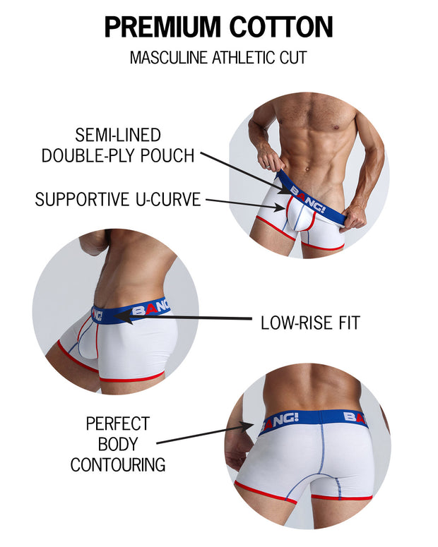 Infographic of BANG! mens premium boxer brief premium fit bold colors gay miami florida beach sexy