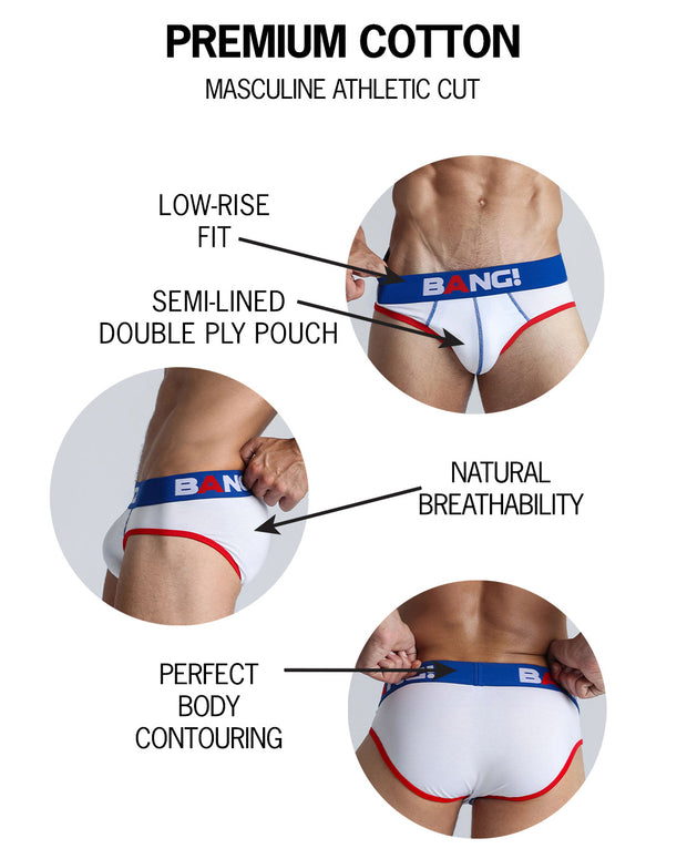 Infographic of BANG! mens premium underwear brief premium fit bold colors gay miami florida beach sexy