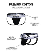 Infographic of BANG! mens premium underwear jockstrap premium fit bold colors gay miami florida beach sexy