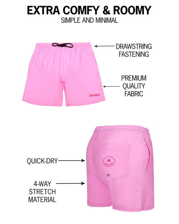 Infographic of BANG! mens premium swimwear premium fit bold colors gay miami florida beach sexy resort shorts