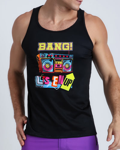 This men's tank top in solid black features a print in bright colors that reads LISTEN UP!