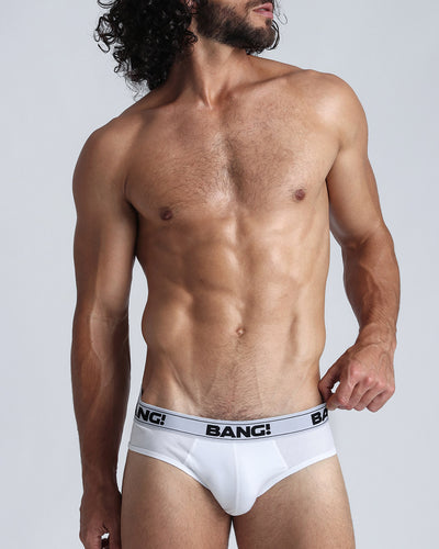 Lux White Cotton Brief Bang Clothes Men Underwear Undergarments close up