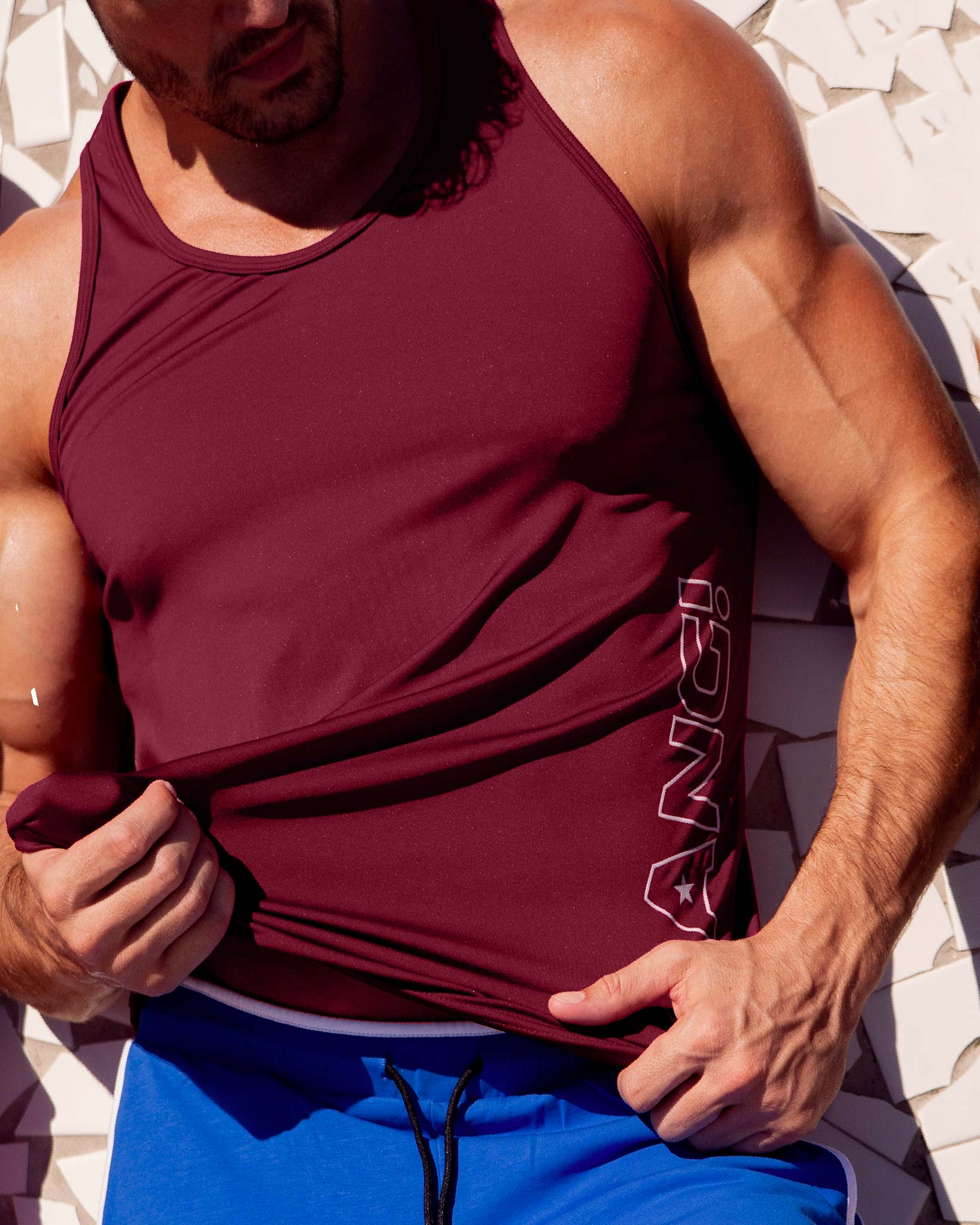 MACH RED Tank Top Bang Clothes Men Tank Tops Beach Gear editorial