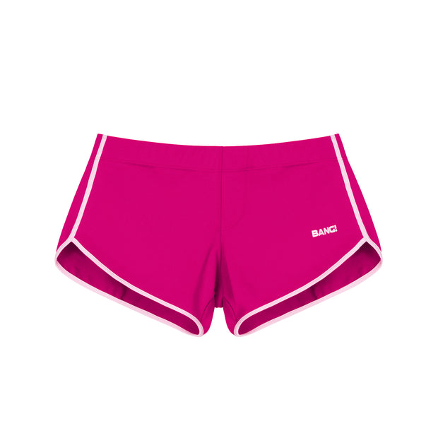 Frontal view of a sexy men's swimsuit in magenta pink by the Bang! Menswear brand from Miami.