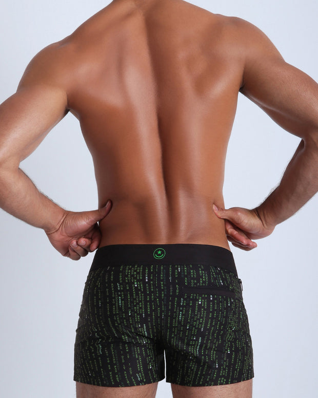 Back view of a sexy male model wearing men's swimwear made by the Bang! official brand of men&