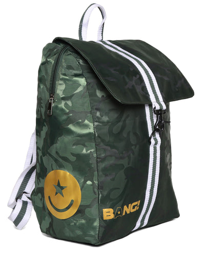 Maverick Backpack Bang Clothes Gym Duffel Beach Bag Weekend Travel Bag in green camo with golden logo and details
