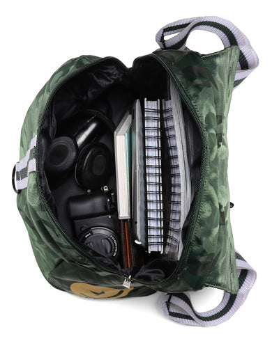 Maverick Backpack Bang Clothes Gym Duffel Beach Bag Weekend Travel Bag in green camo with golden logo and details interior organization