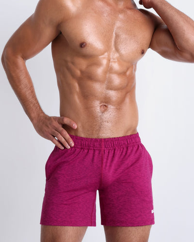 Frontal view of BANG!'s men's berry colored Jogger Shorts in the style of classic men's running shorts for workout, fitness or bodybuilding.
