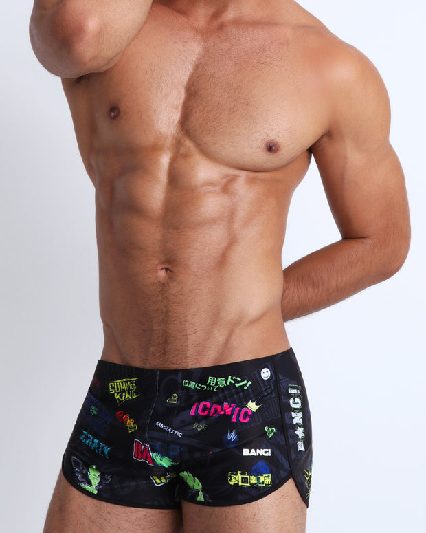 This swimsuit for men features fun and energetic comics-style text graphics in bold colors with a prominent BANG! Illustration.