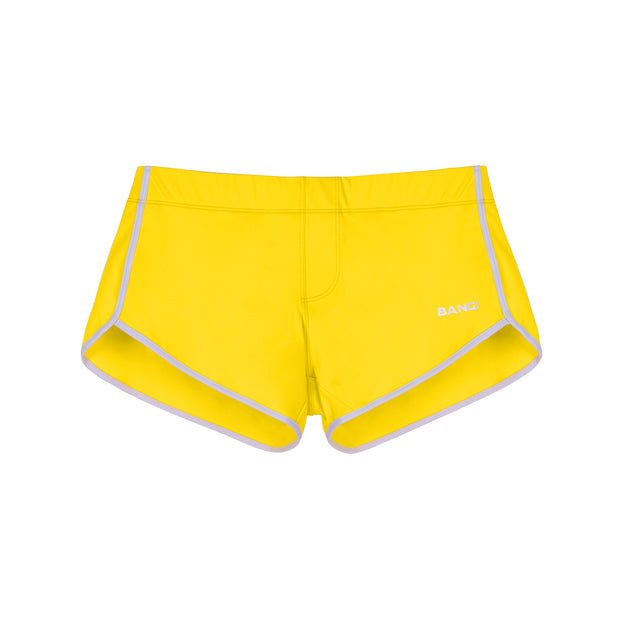 Frontal view of a sexy men's swimsuit in yellow by the Bang! Menswear brand from Miami.