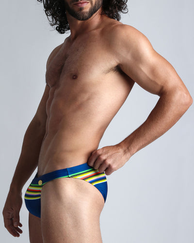 Stripe'A'Pose Dub Swim Mini Brief Bang Clothes Men Swimwear Swimsuits side view left