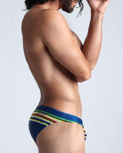 Stripe'A'Pose Dub Swim Mini Brief Bang Clothes Men Swimwear Swimsuits right side lateral view