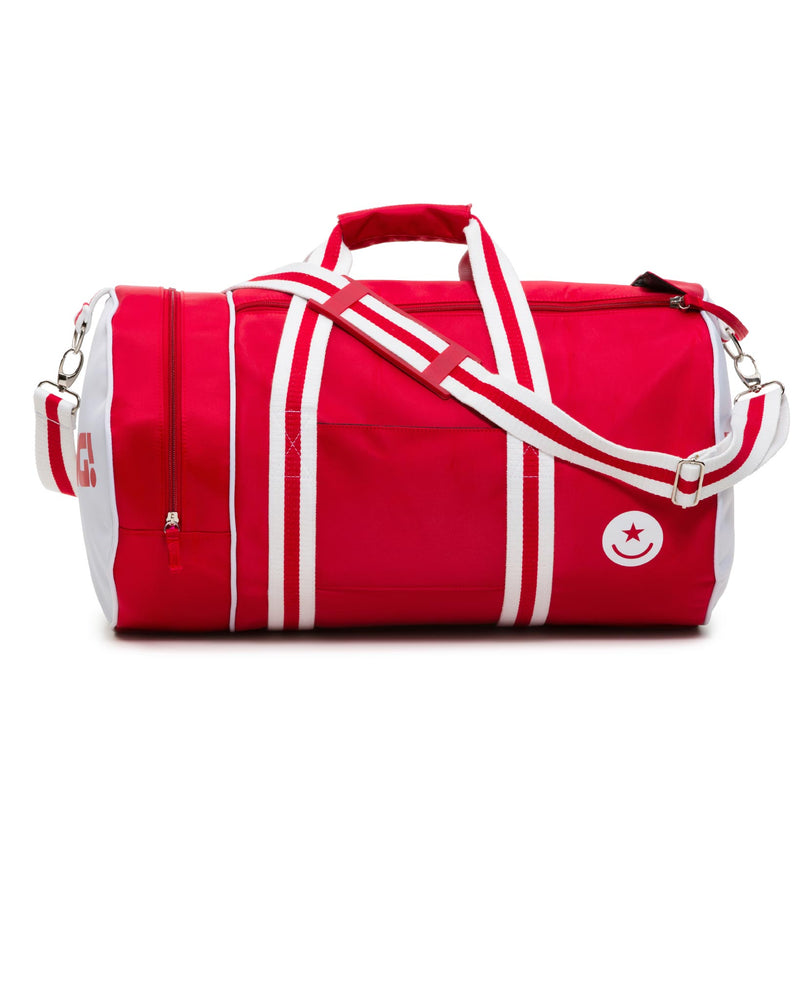 The Weeknder (Red/White) Bang Clothes Gym Duffel Beach Bag Weekend Travel Bag in white and red