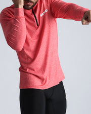 Workout Shirt Miami Coral Bang Clothes Beach Nightlife Gym Gear For Men Accessories in red coral pink with white brand logo
