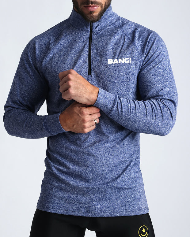 Workout Shirt Steel Blue Bang Clothes Beach Nightlife Gym Gear For Men Accessories in blue with brand logo in white