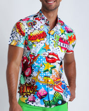 This men's stretch shirt features fun and enegetic comics-style graphics in bold colors, with a BANG! illustration.