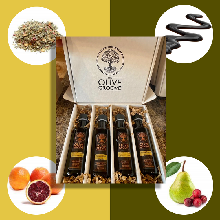 The Multi-Purpose Sampler-2 Olive Oils and 2 Balsamics: Tuscan Herb+Blood Orange+Traditional+Cranberry Pear