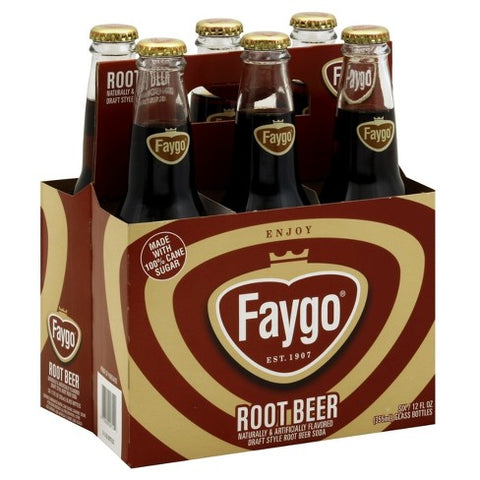 Faygo Root Beer 6 Glass Bottle Case