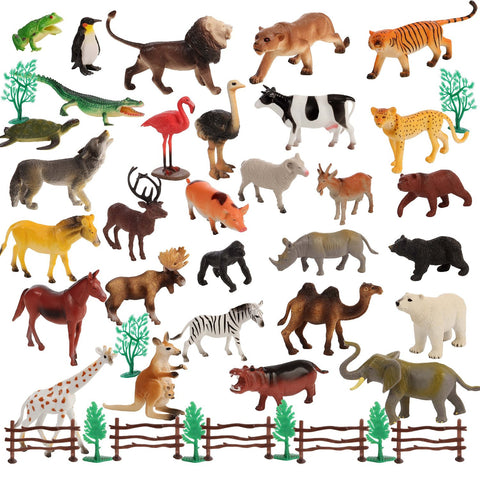 50 Piece Large size Animal Set 30 Animals & 20 Accessories in a Storage Container