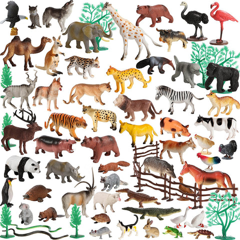 100 Piece Set of Animals Figures and Accessories in Storage Container.