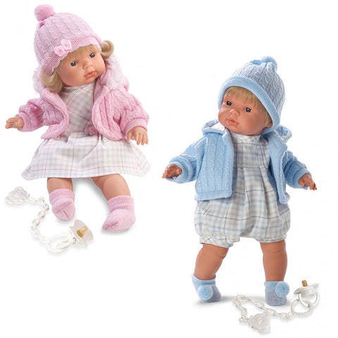 Twin Babies Boy & Girl 16'' Crying Baby Dolls with Pacifier
