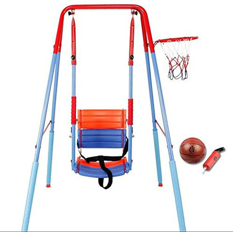 Swing Set on Metal Frame with Basket Ball Frame