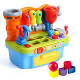 Multifunctional Musical Learning Tool Workbench Toy Set for Kids with Shape Sorter Tools