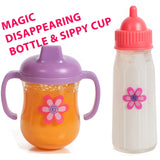 Mommy & Me Baby Doll 5 Piece Feeding Set - Includes A Magic Disappearing Milk Bottle and Sippy Cup