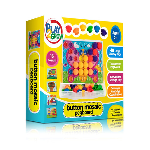 Play2Grow Button Mosaic Peg Board, Ages 2+