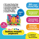 Play2Grow Button Mosaic Peg Board, Ages 2+ - Toys 2 Discover - 3