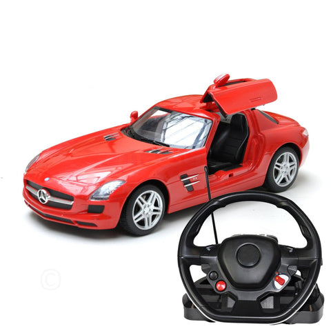 Mercedes Benz SLS Remote Controlled Car Steering Wheel 1:14 Scale Toy R/C - Red