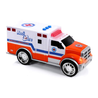Top Right Toys Emergency Vehicles - Ambulance, Fire Truck and Police car, 3  pc Set with Lights and Sirens