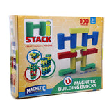 Magnetic Stick N Stack Set of 100 HiStack Building Blocks, Comes with Magnetic H Blocks, Arches, and Rectangle Blocks