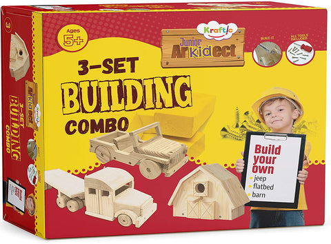 Kraftic Woodworking Building Kit for Kids and Adults, with 3 Educational DIY Carpentry Construction Wood Model Kit Toy Projects for Boys and Girls - Jeep, Flatbed and Barn