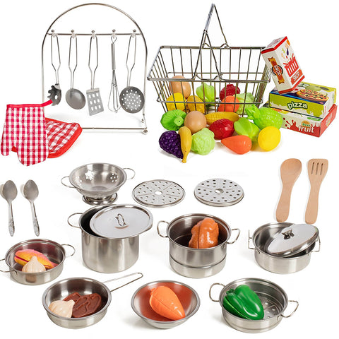 IQ Toys 50 Piece Complete Pretend Play Food Set, Complete from Supermarket Shopping to Cooking