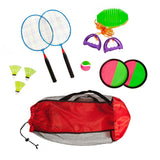 Combo outdoor play set of 3 Velcro catch Speed ball & Badminton in mesh carryon bag - Toys 2 Discover