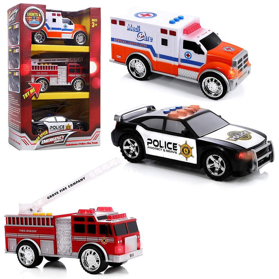Top Right Toys Emergency Vehicles Ambulance Fire Truck And Police
