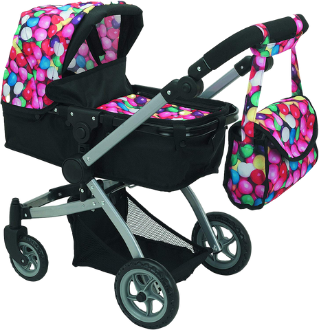 9651-B Bugaboo DOLL Bassinet Stroller with Diaper Bag and Swivel Wheels- Gumball