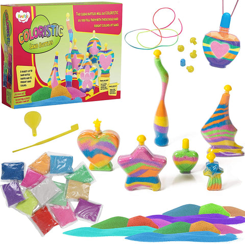 Kraftic Sand Art Kit Includes 10 Sand Bottles, 13 3.5 Ounce Bright Multicolored Sand Bags, Funnel, and Sand Controller, Arts and Crafts for Kids